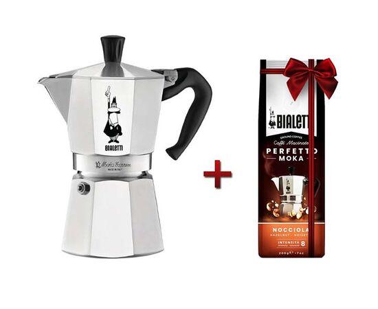Bialetti Moka Express на 6 чашек + кофе молотый Hazelnut 200г, фото