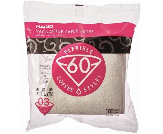 Hario VCF-03-100W Бумажные фильтры V60 03 белые 100 шт, фото