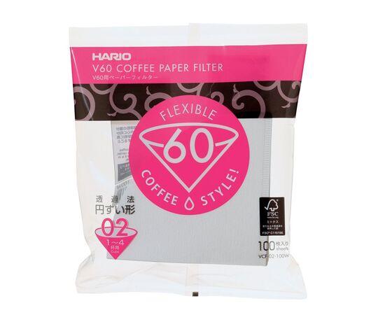 Hario VCF-02-100W Бумажные фильтры V60 02 белые 100 шт, фото